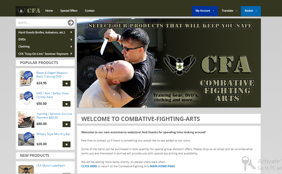 go to Combative Fightign Arts on-line Store